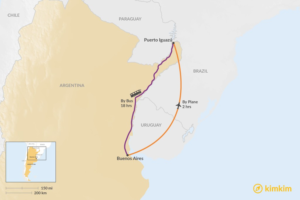 Map of How to Get from Buenos Aires to Puerto Iguazú