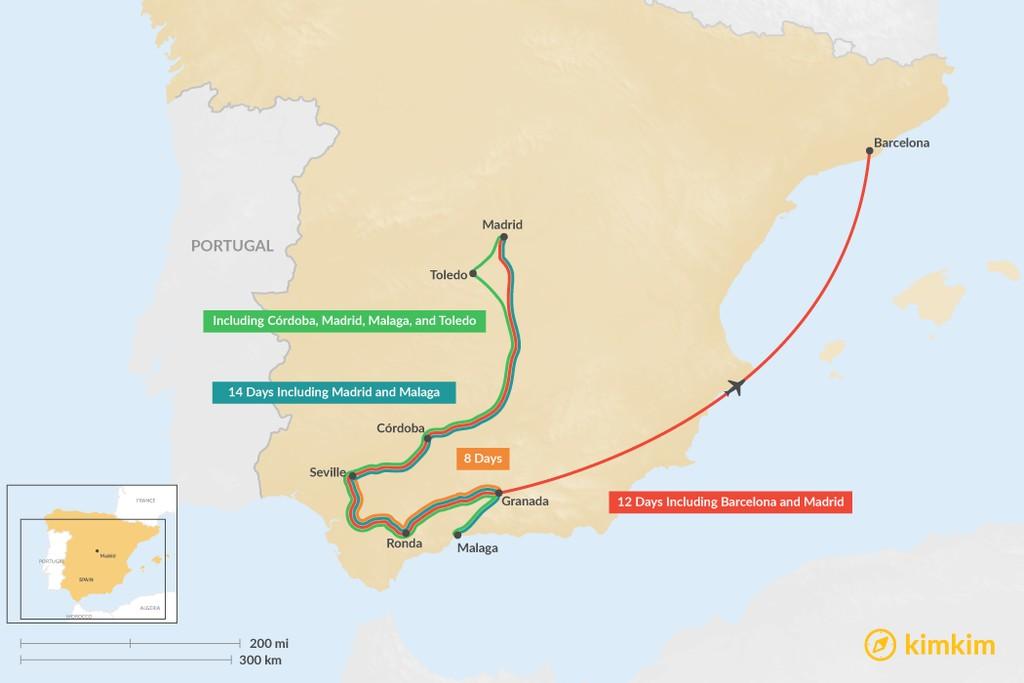Map of Seville, Granada, & Ronda: Best Itinerary Ideas