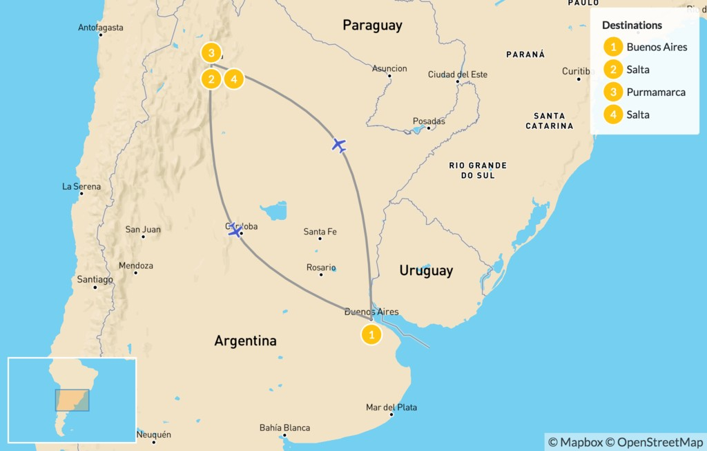 Map of Argentina's Salta & Jujuy Province – 5 Days