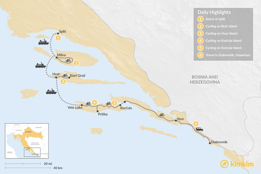 Map of Mountain Biking the Croatian Islands: Brač, Hvar, & Korcula - 6 Days