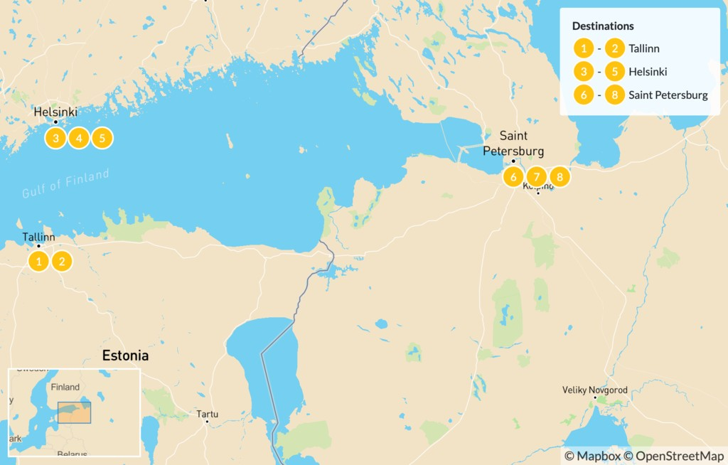 Map of Baltic Highlights: Estonia, Finland, & Russia - 9 Days