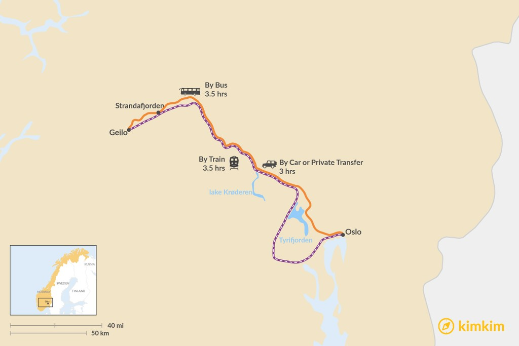 Map of How to Get from Oslo to Geilo
