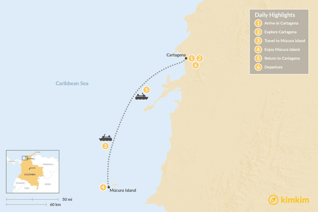 Map of Cartagena & Caribbean Colombia - 6 Days