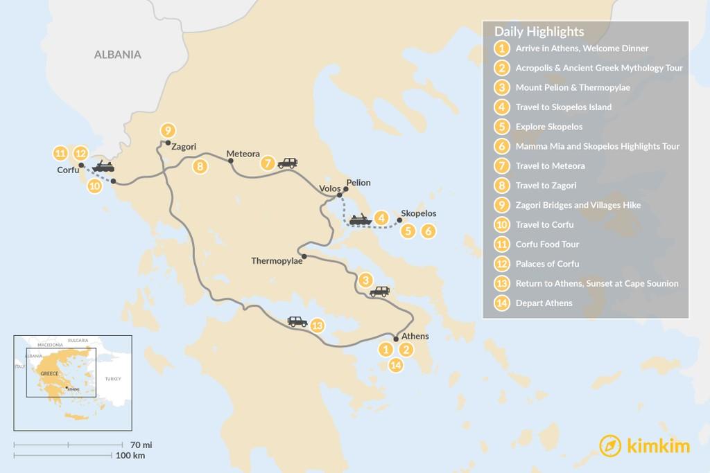 Map of Central Greece, Skopelos & Corfu Exploration - 14 Days