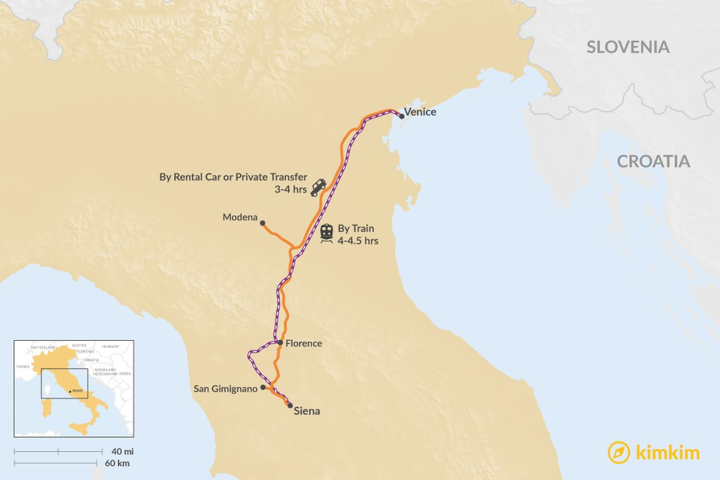 Map of How to Get from Venice to Siena