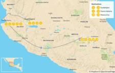 Map thumbnail of Guadalajara, Puerto Vallarta & Mexico City - 14 Days