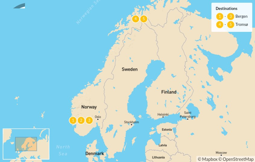 Map of Explore Bergen & Tromsø - 6 Days