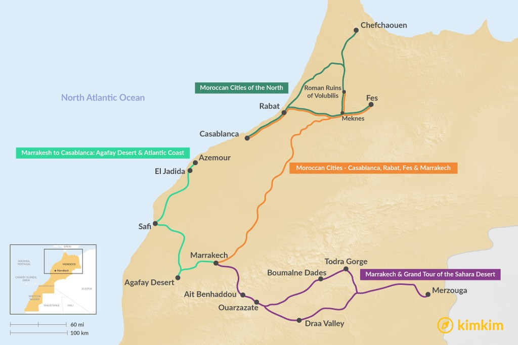 Map of 6 Days in Morocco - 4 Unique Itinerary Ideas