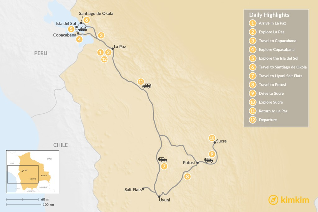 Map of Explore the Farms and Markets of Bolivia's Andes - 12 Days