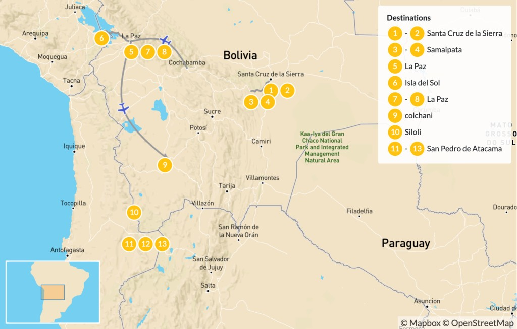 Map of Bolivia & Chile Highlights: From La Paz to Uyuni & Atacama - 14 Days