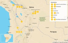 Map thumbnail of Bolivia & Chile Highlights: From La Paz to Uyuni & Atacama - 14 Days