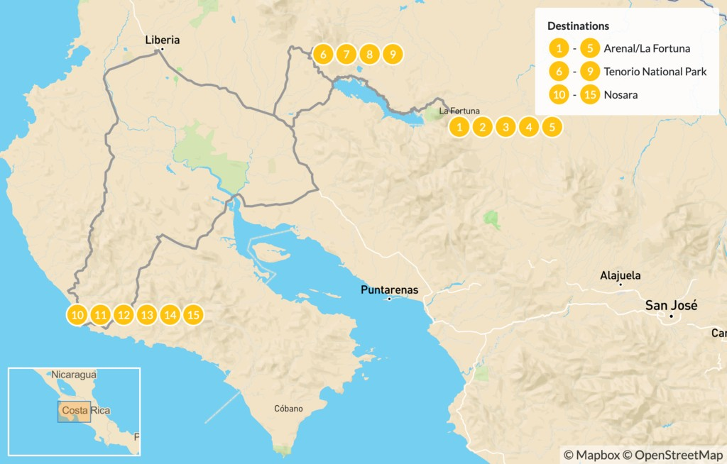 Map of Luxury Getaway: Volcanoes, Rivers, & Secluded Beaches - 16 Days