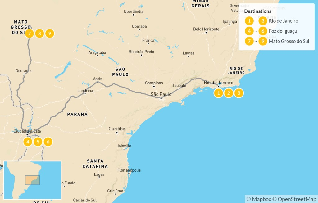 Map of Brazil Adventure: Rio de Janeiro, Iguazú Falls, & Pantanal - 10 Days