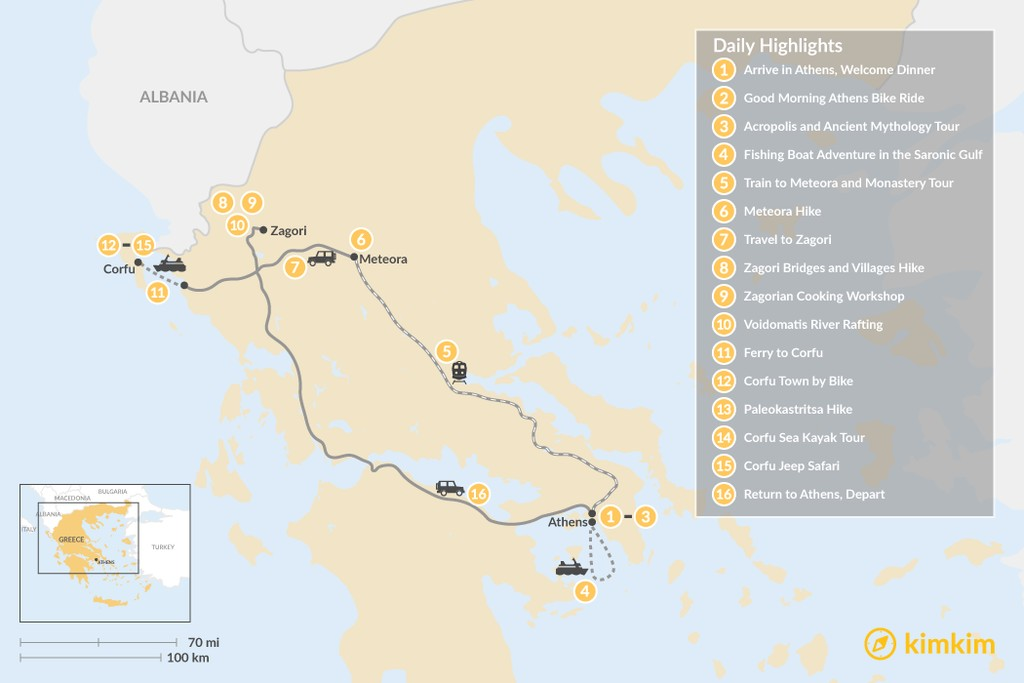 Map of Adventurous Athens, Central Greece and Corfu - 16 Days