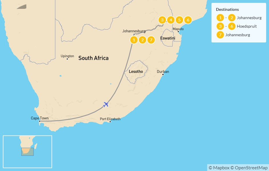 Map of Authentic South Africa: Johannesburg to Kruger National Park - 8 Days