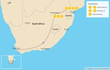 Map thumbnail of Authentic South Africa: Johannesburg to Kruger National Park - 8 Days