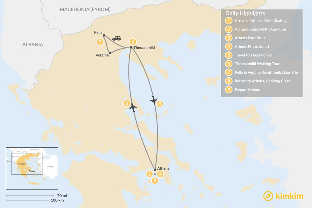 Map of Urban Adventures and History in  Athens & Thessaloniki - 9 Days