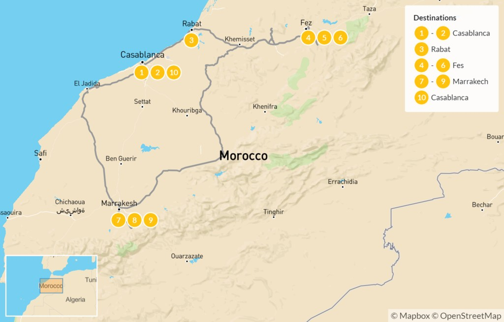 Map of Explore Morocco: Imperial Cities to Berber Villages - 11 Days