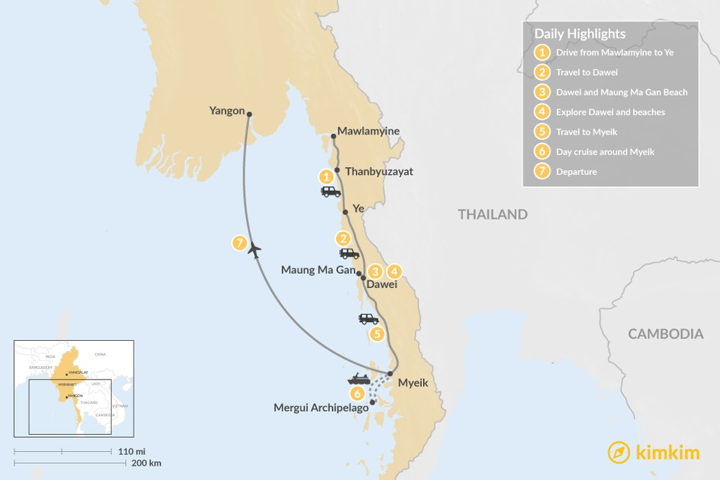 Map of Best of Southern Myanmar - 7 Days