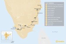 Map thumbnail of Southern India: Tamil Nadu & Kerala - 12 Days