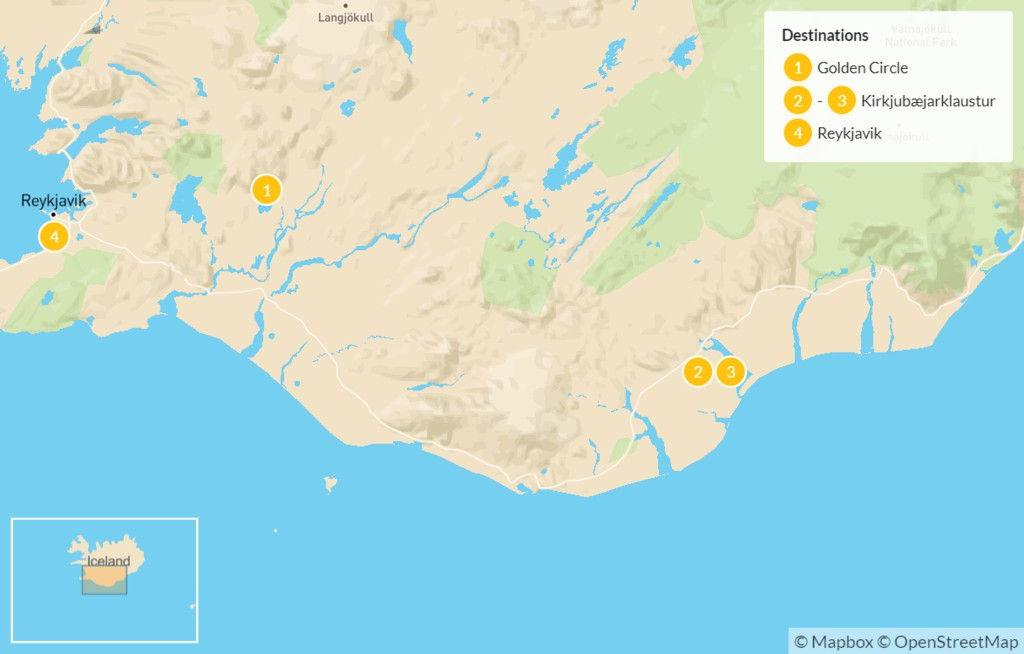 Map of Golden Circle, South Coast, & Reykjavik - 5 Days