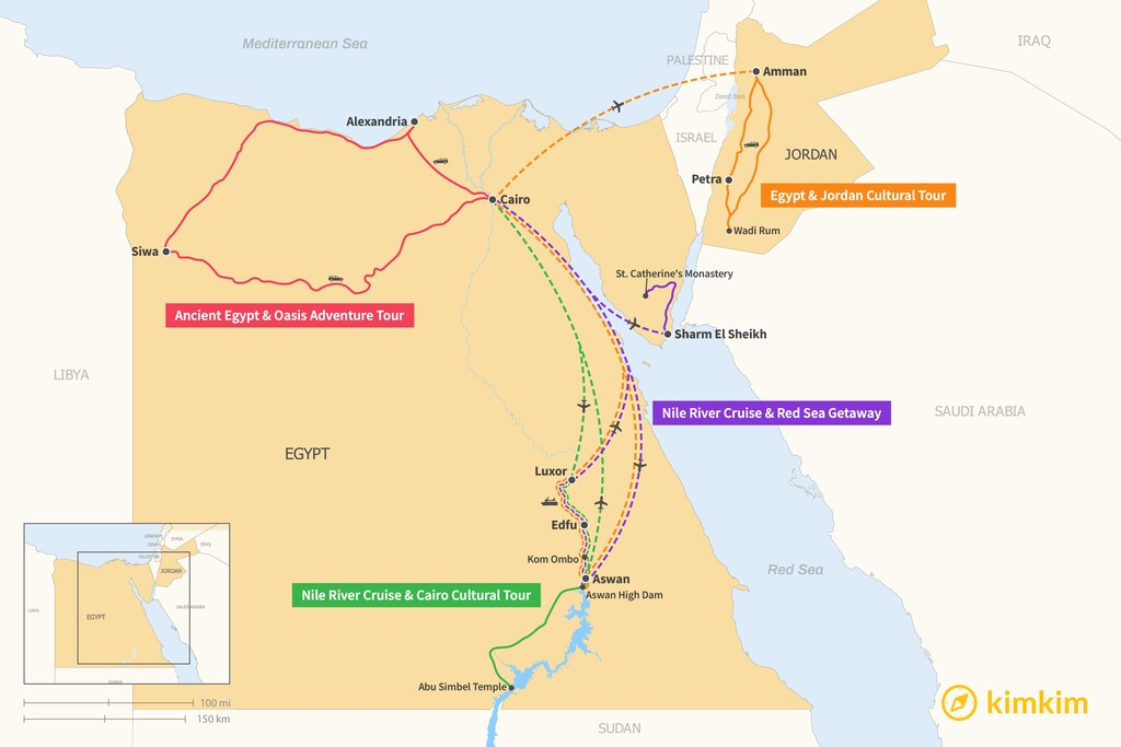 Map of 10 Days in Egypt - 4 Unique Itineraries