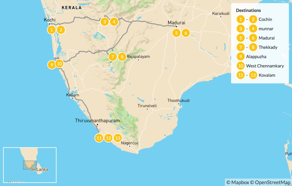 Map of South India Scenic Adventure - 14 Days
