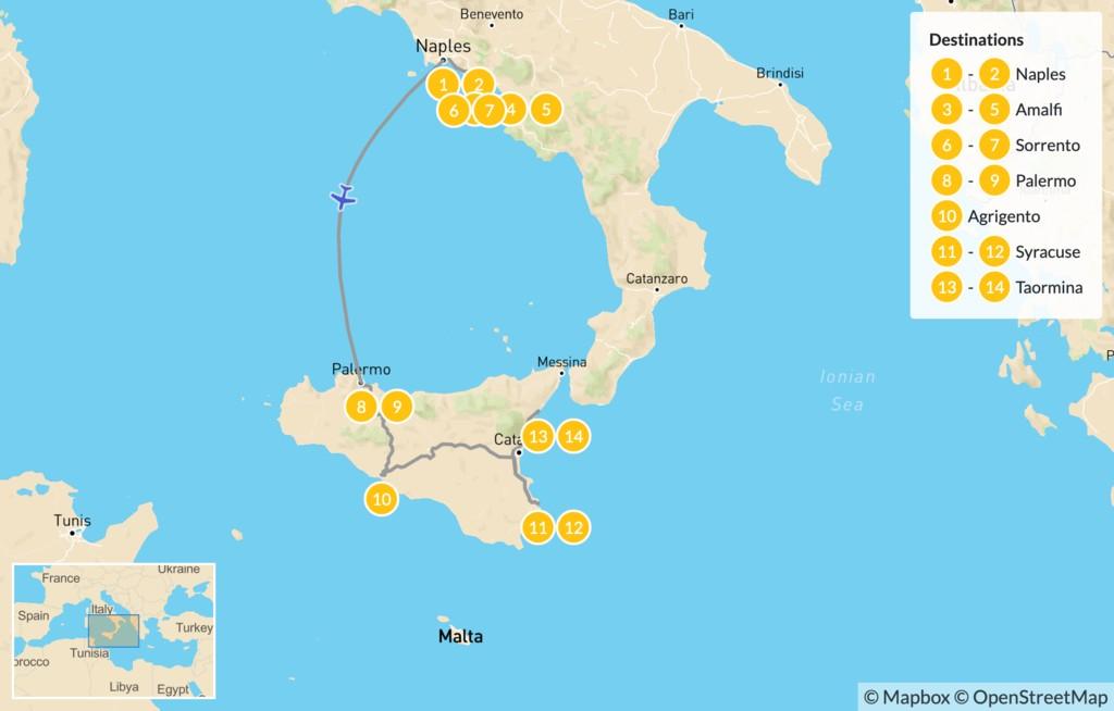 Map of Naples, Amalfi Coast, & Sicily - 15 Days