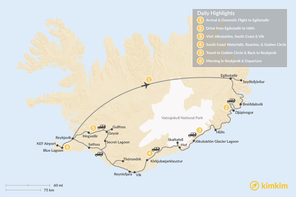 Map of Iceland: East Fjords, South Coast, & Golden Circle - 6 Days