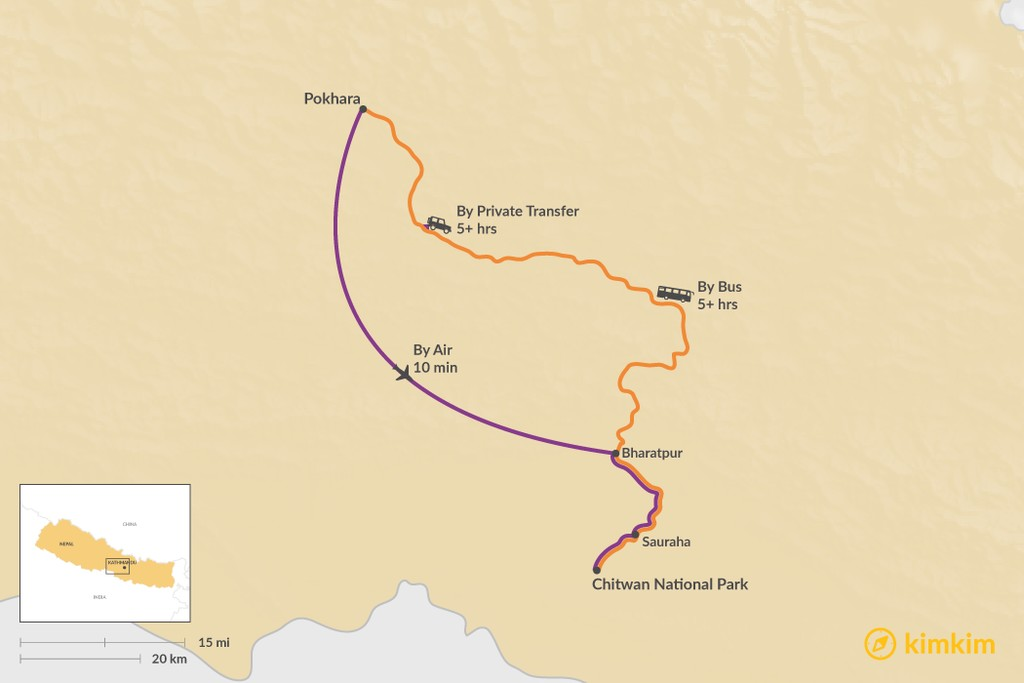Map of How to Get from Pokhara to Chitwan National Park