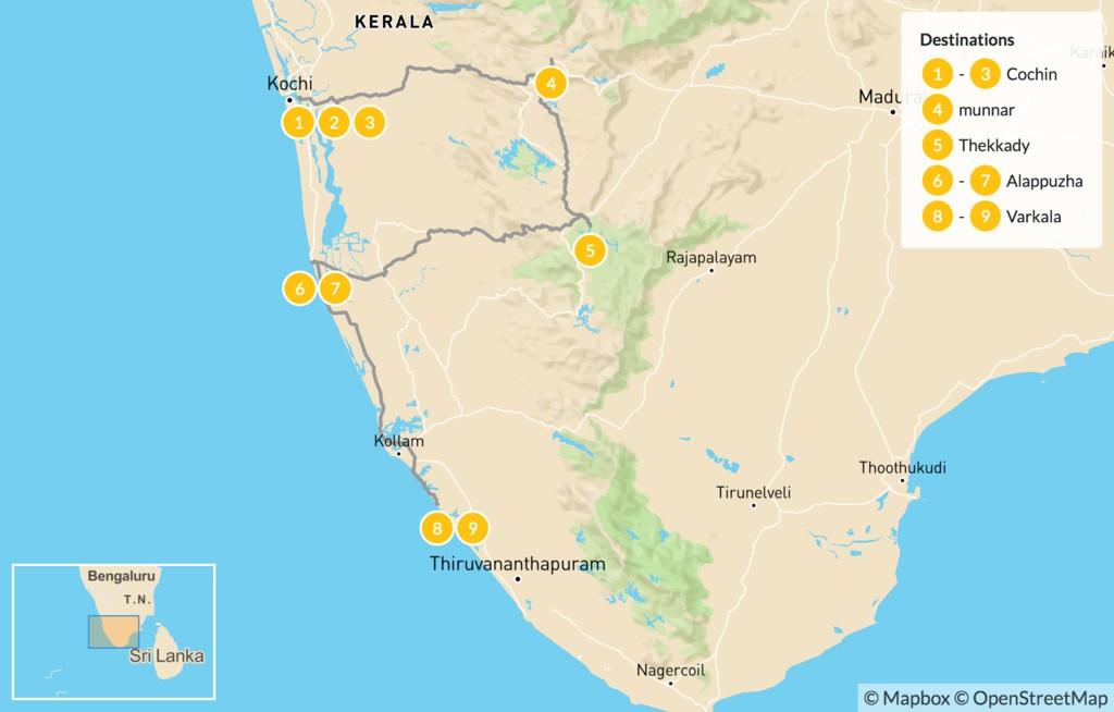 Map of Highlights of Kerala - 10 Days