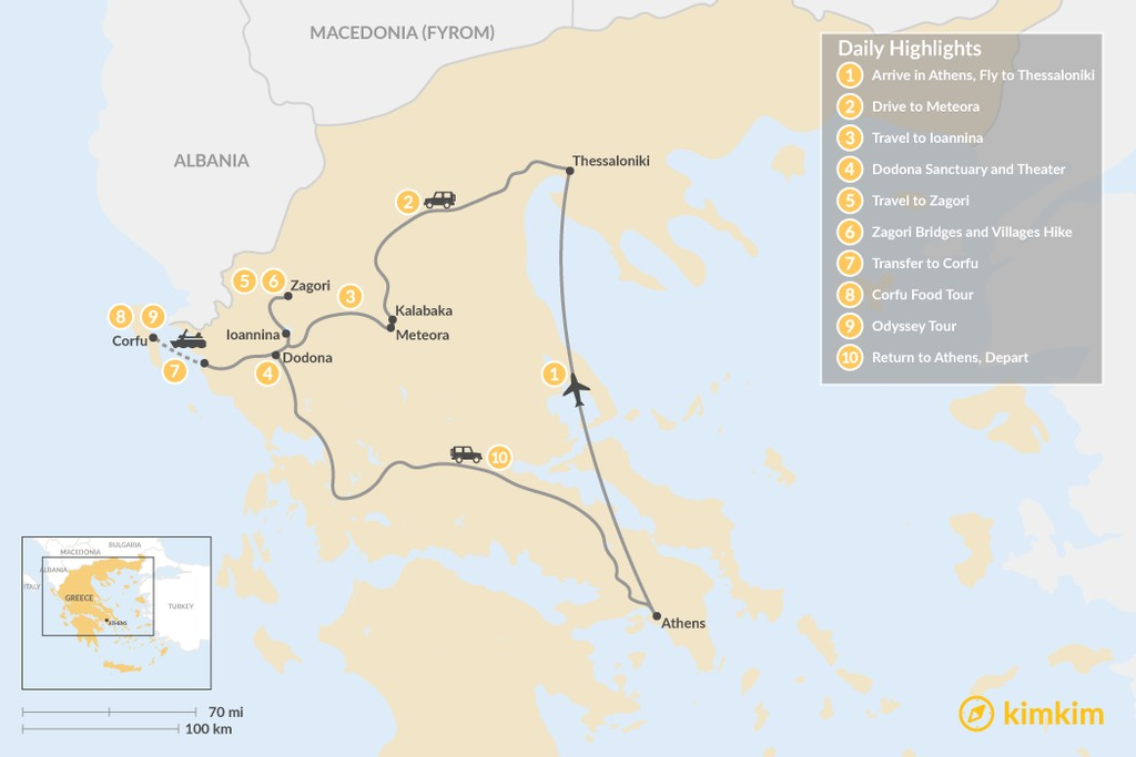 Map of Enchanting Northern Greece and Corfu - 10 Days