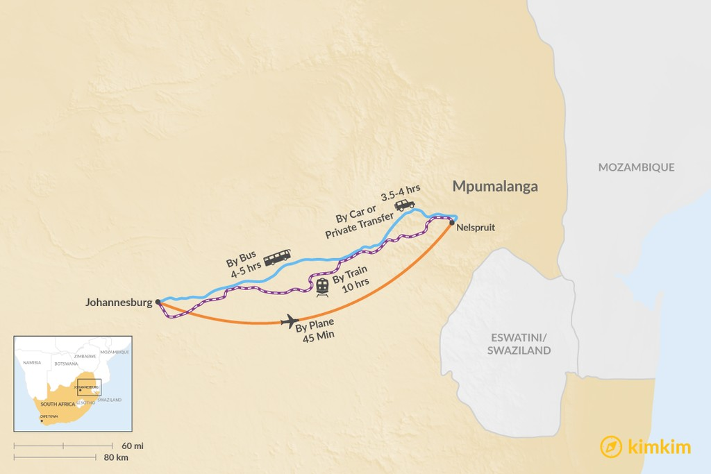 Map of How to Get from Johannesburg to Mpumalanga