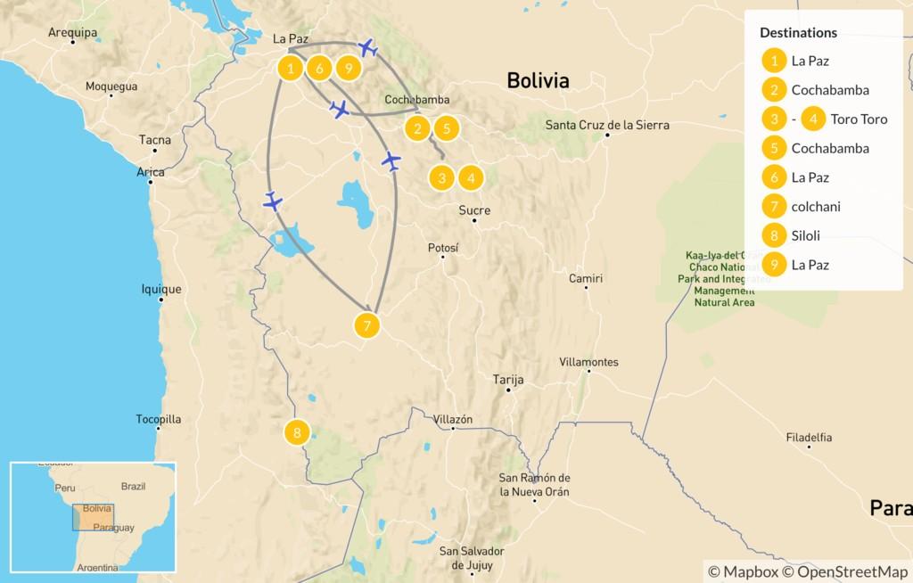 Map of Bolivian Landscapes: La Paz, Torotoro, & Uyuni Salt Flats - 10 Days
