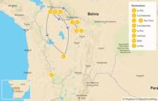 Map thumbnail of Bolivian Landscapes: La Paz, Torotoro, & Uyuni Salt Flats - 10 Days