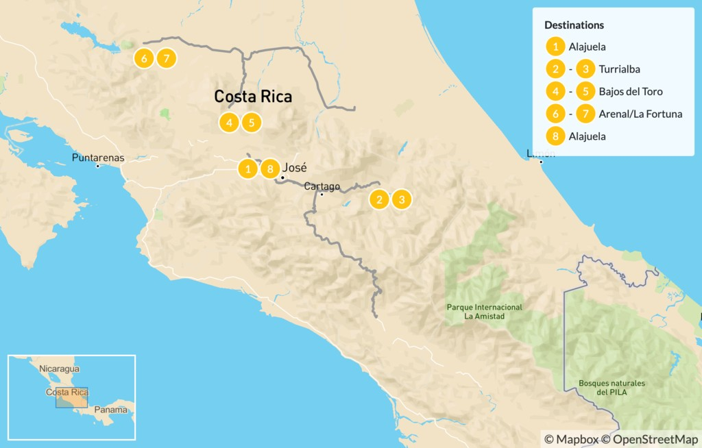 Map of Tropical Adventures and Luxury Retreats in Costa Rica - 9 Days
