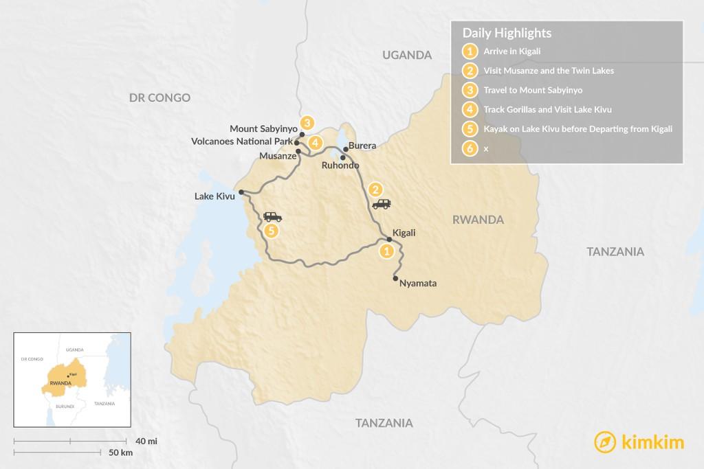 Map of Rwandan Gorilla & Monkey Safari - 5 Days