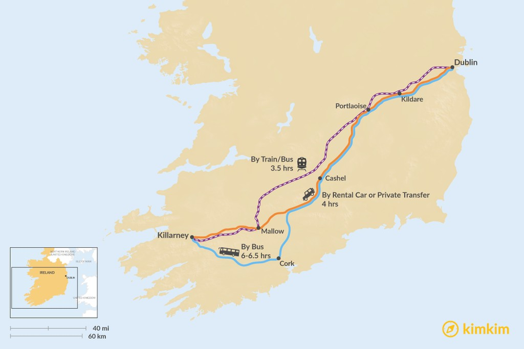 Map of How to Get from Dublin to Killarney