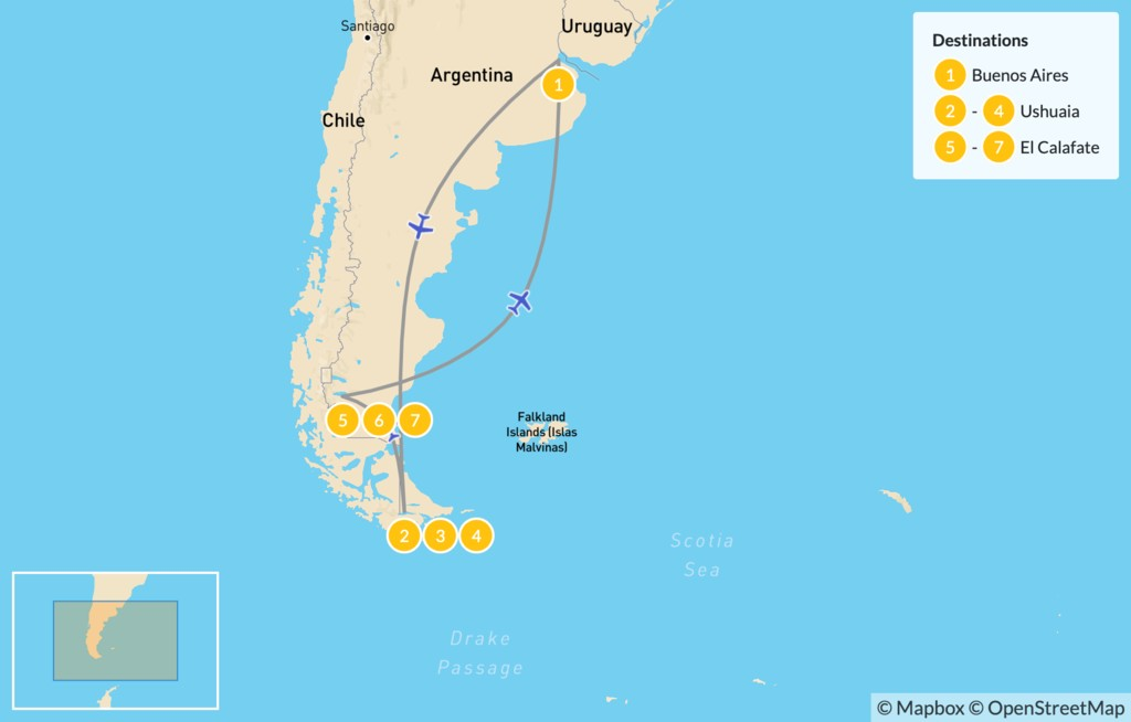 Map of Ushuaia & El Calafate Adventure - 8 Days