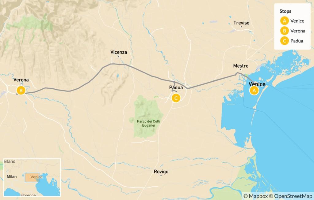 Map of Food & Wine in Verona & Padua - 5 Days