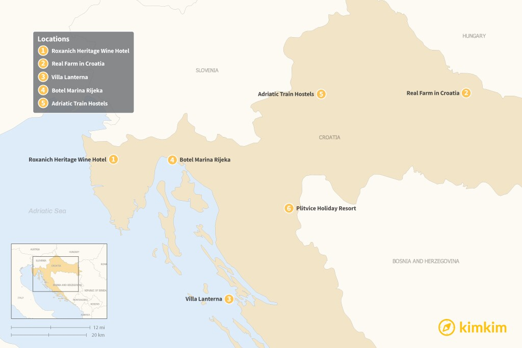 Map of Beyond Hotels: 6 Unique Lodging Options in Croatia