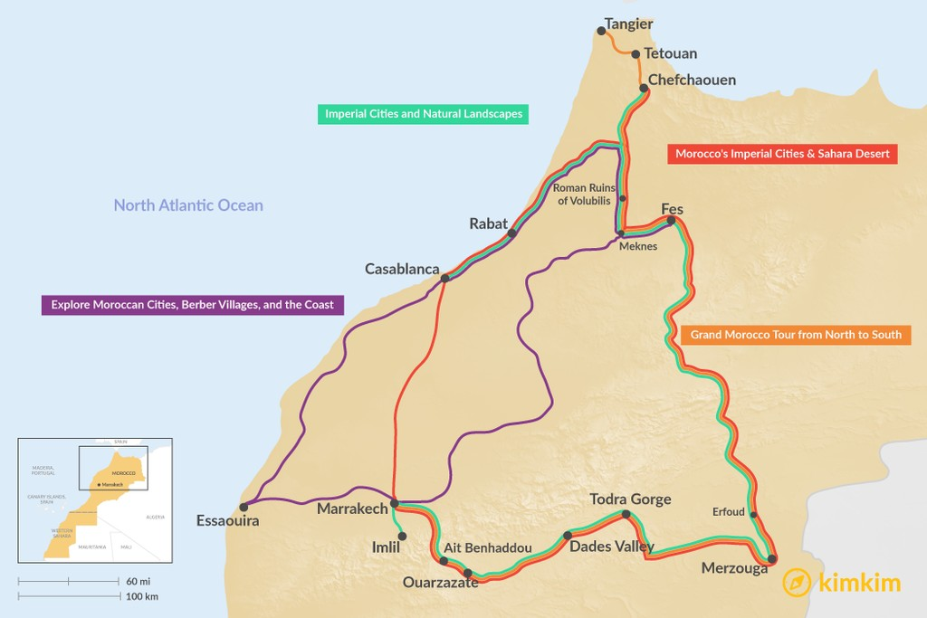 Map of 11 Days in Morocco - 4 Unique Itineraries