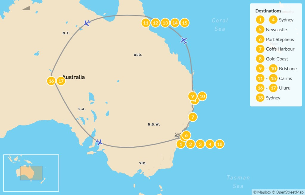Map of Ultimate Australia: Sydney to Cairns & Uluru - 19 Days