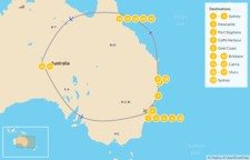 Map thumbnail of Ultimate Australia: Sydney to Cairns & Uluru - 19 Days