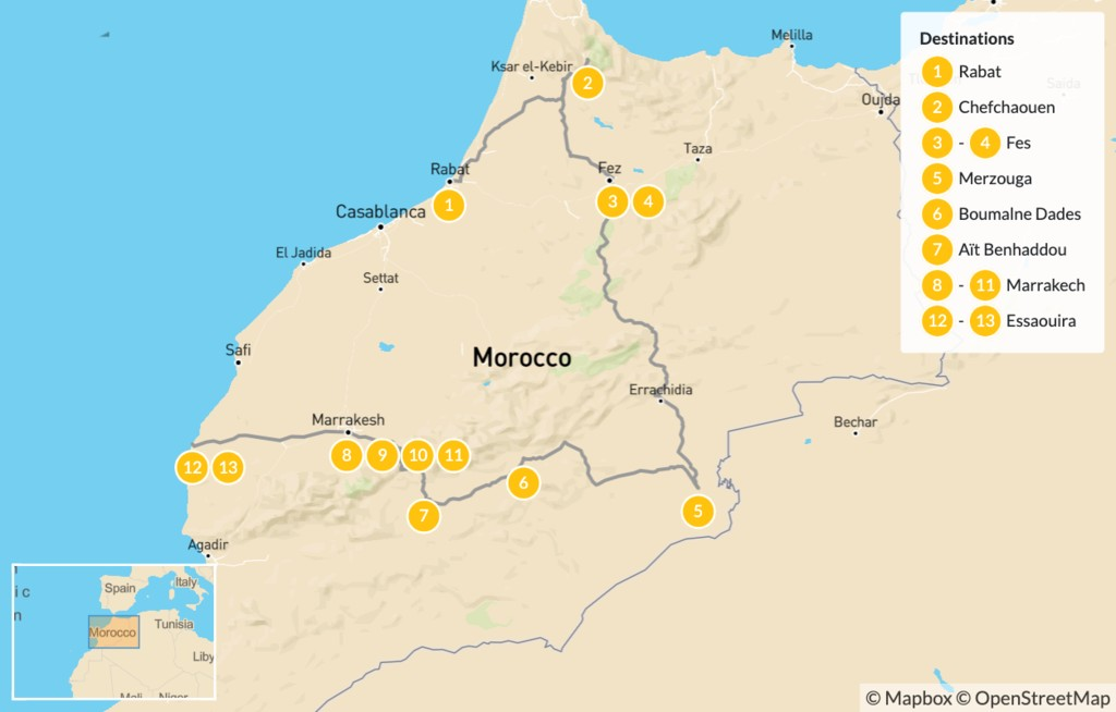 Map of Luxury Grand Tour of Morocco - 14 Days