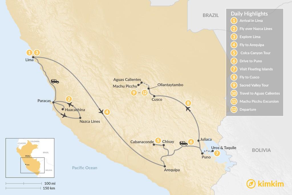Map of Essential Peru - 12 Days