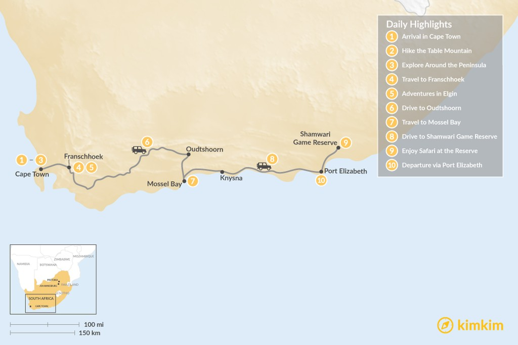 Map of South Africa Family Adventure: Cape Town, Winelands, Garden Route, Safari, & More - 10 Days