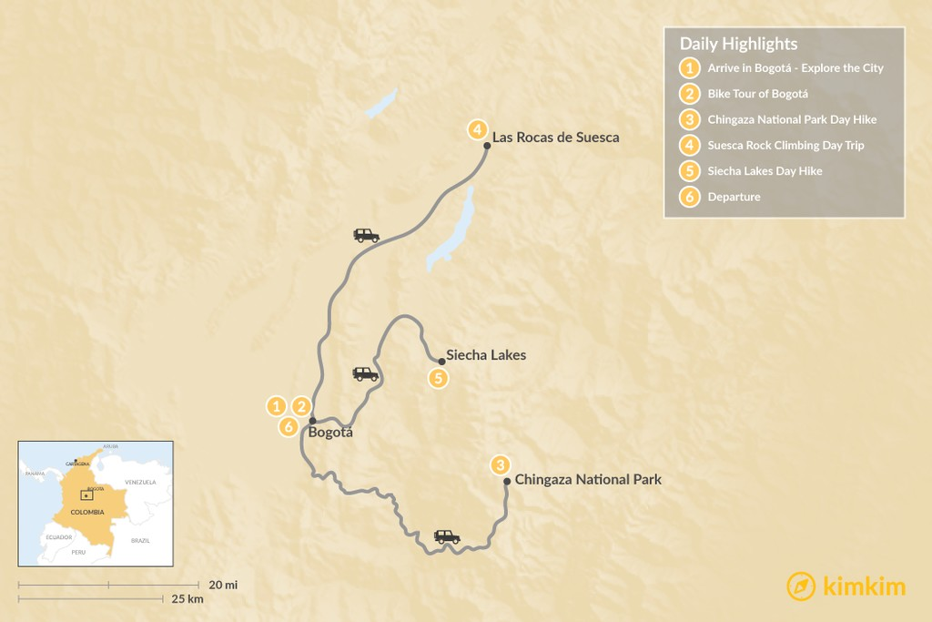 Map of Bogotá's Active Adventure: Bike, Hike, and Climb - 6 Days