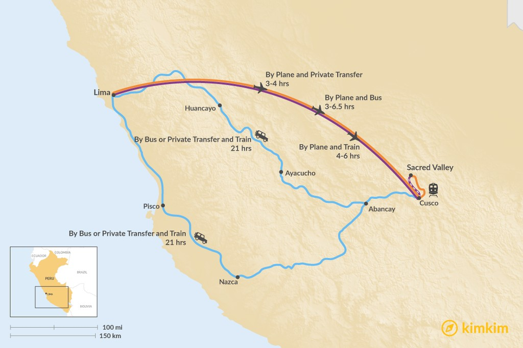 Map of How to Get from Lima to the Sacred Valley