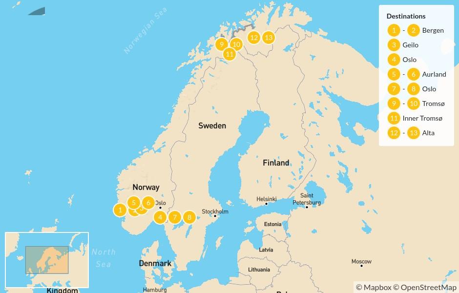 Map of Norway Winter Adventure: Bergen, Geilo, Oslo, Aurland, Tromsø, & Alta - 12 Days - 14 Days